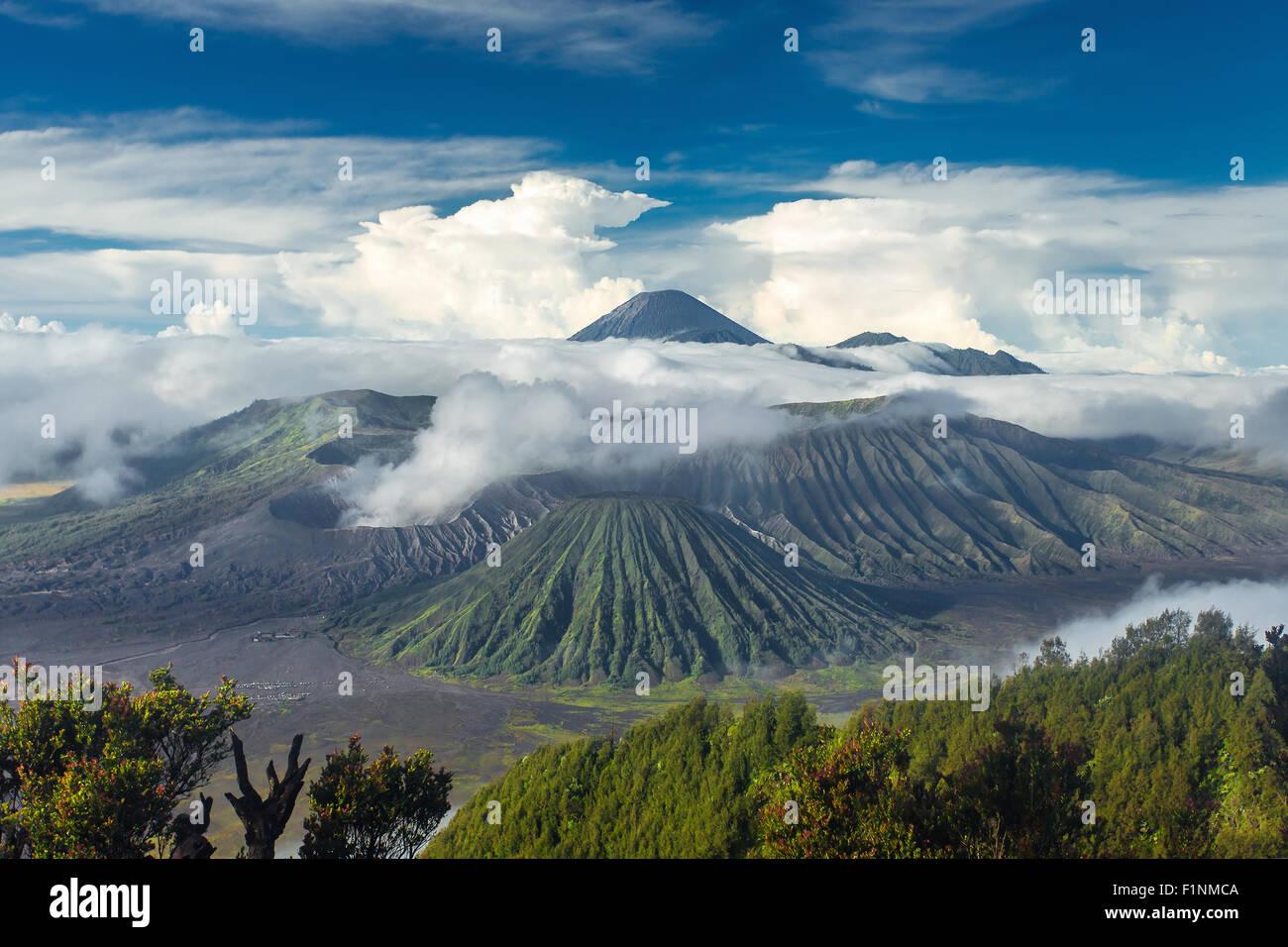 Mount Bromo and Batok volcanoes in Bromo Tengger Semeru National Park, East Java, Indonesia. - Stock Image