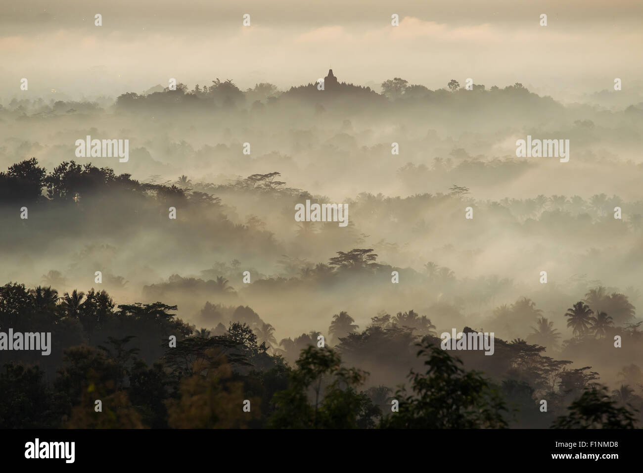 Colorful sunrise over Borobudur temple in misty jungle forest, Indoneisa - Stock Image