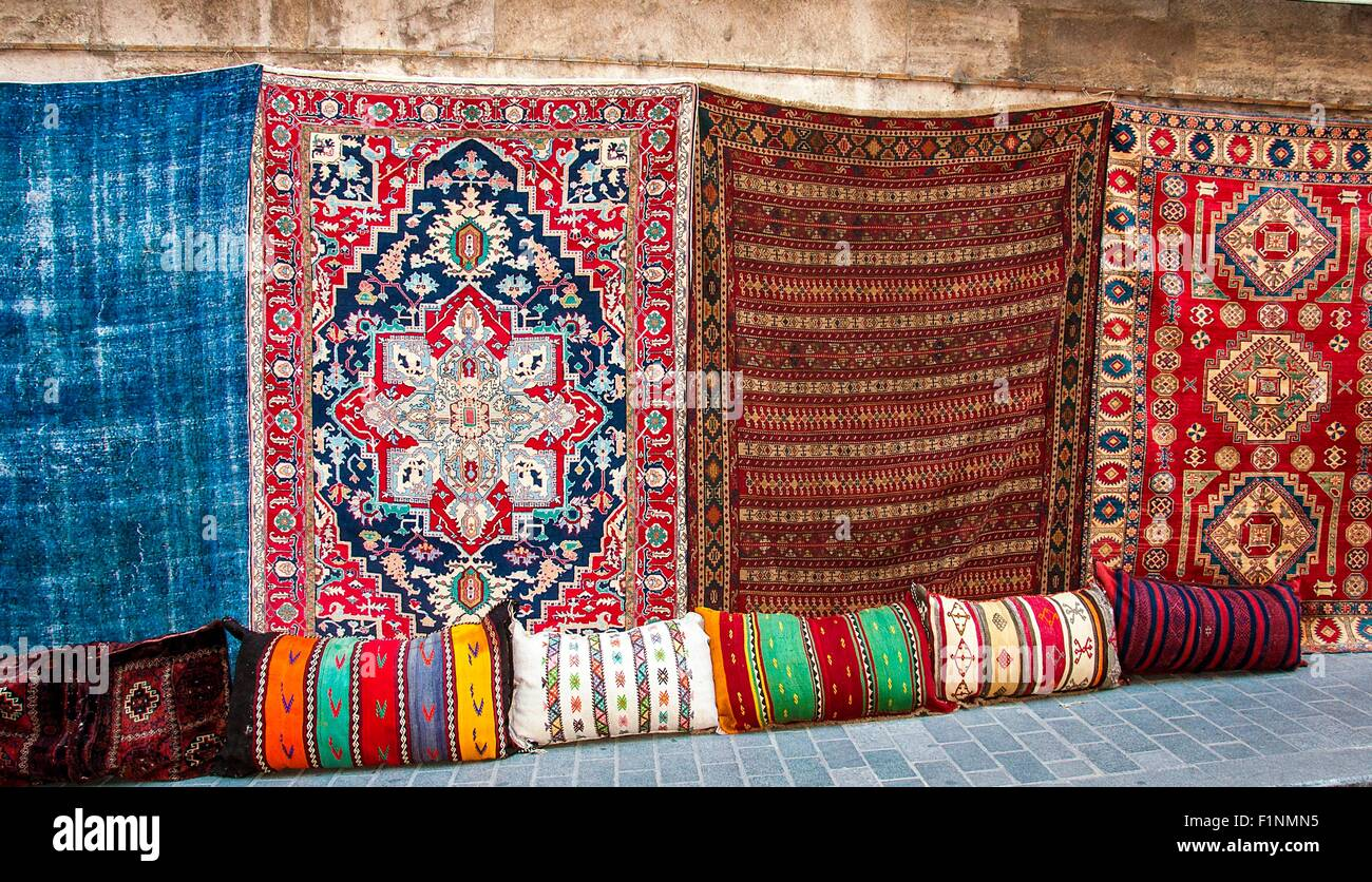 Turkish rugs in the Grand Bazaar - Stock Image