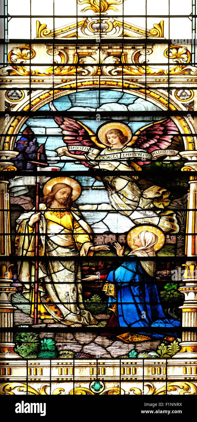 Jesus appears to his mother, stained glass window in the Basilica of the Sacred Heart of Jesus in Zagreb, Croatia - Stock Image