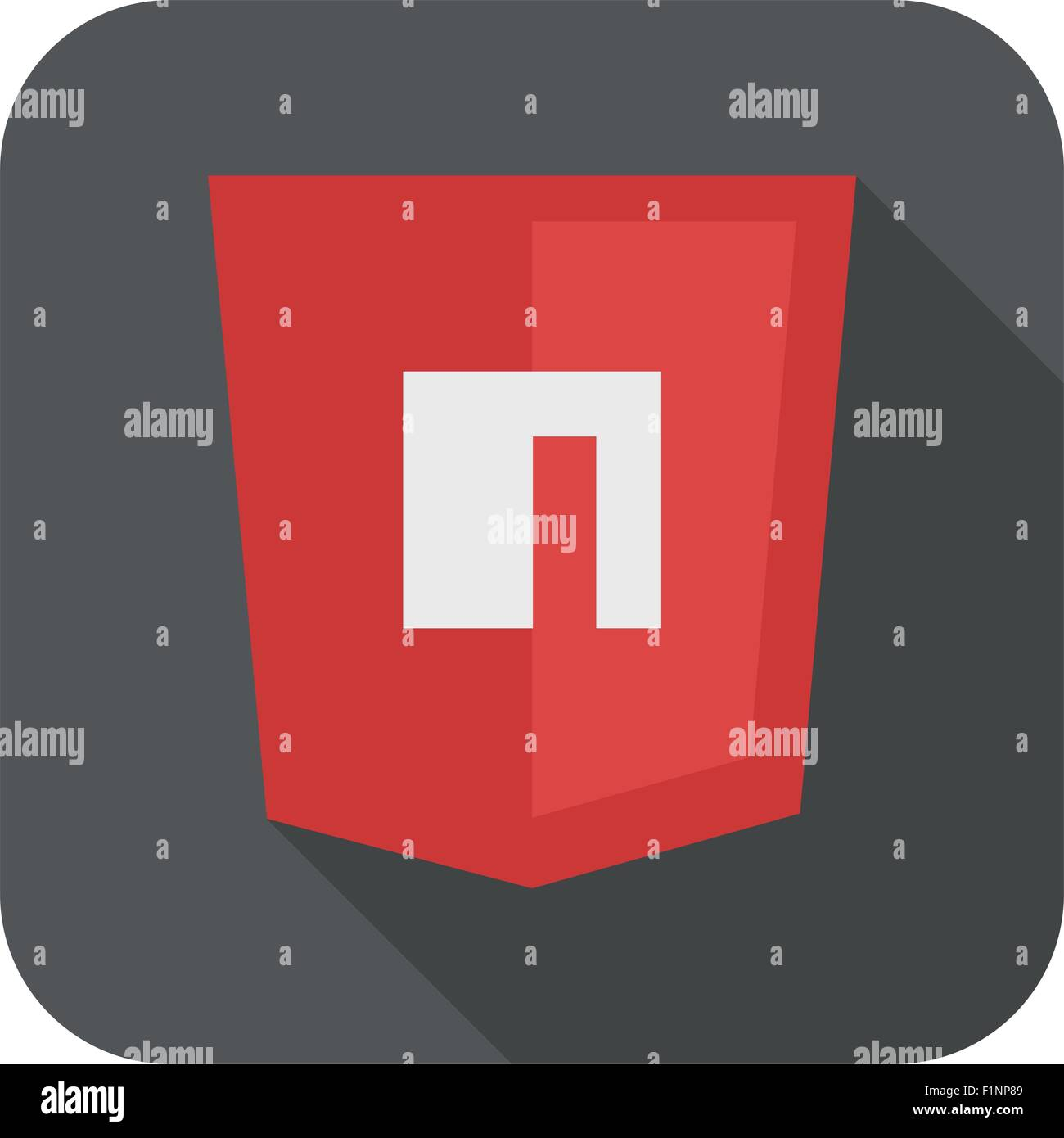 Vector illustration of purpur shield with N letter for packet manager, isolated site development icon on white - Stock Image