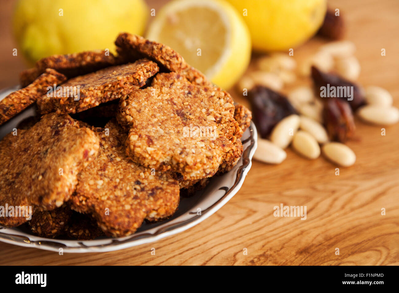 Gluten free ginger cookies with almonds, dates and cardamom - Stock Image
