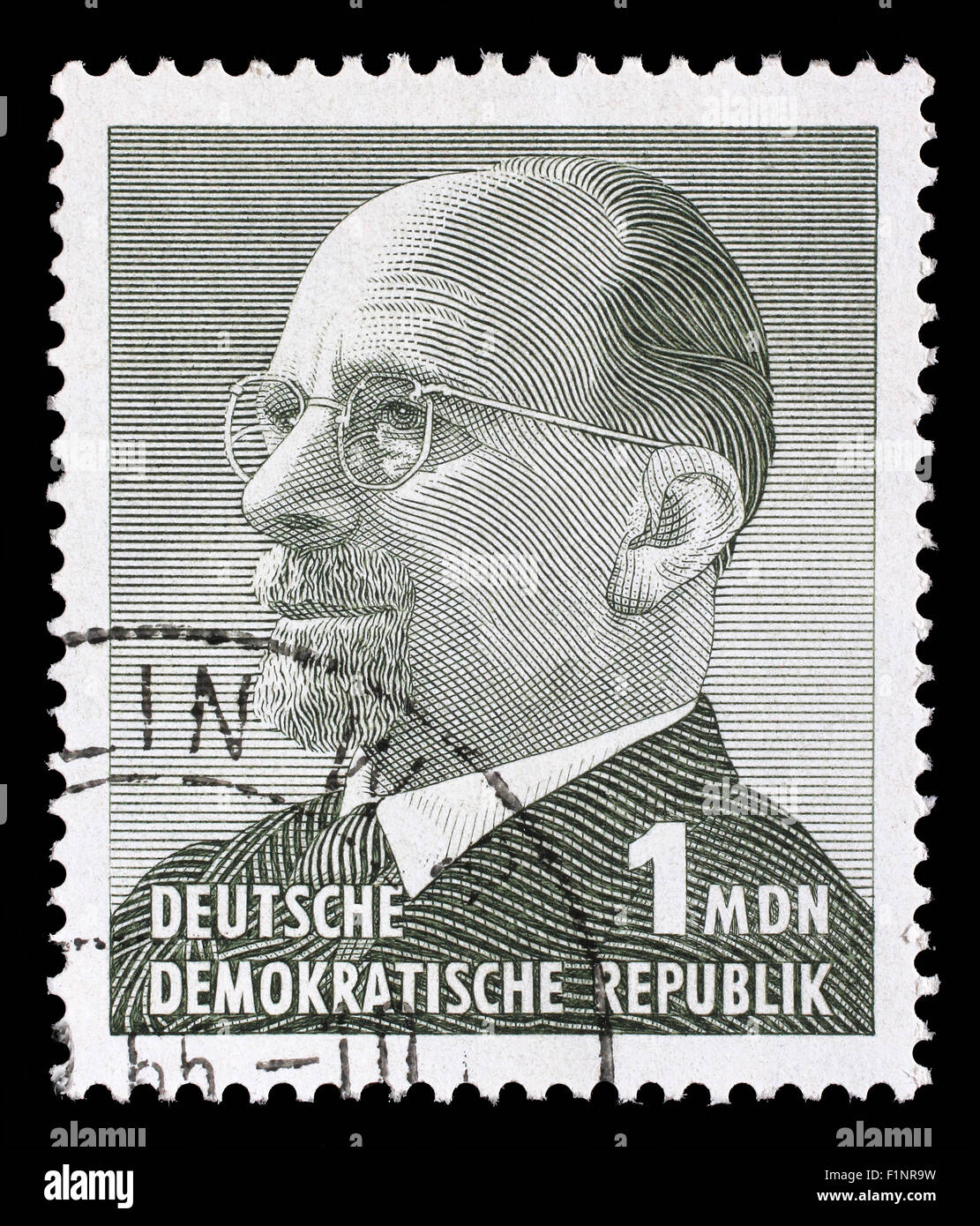 Stamp printed in GDR shows Chairman Walter Ulbricht, circa 1961 Stock Photo