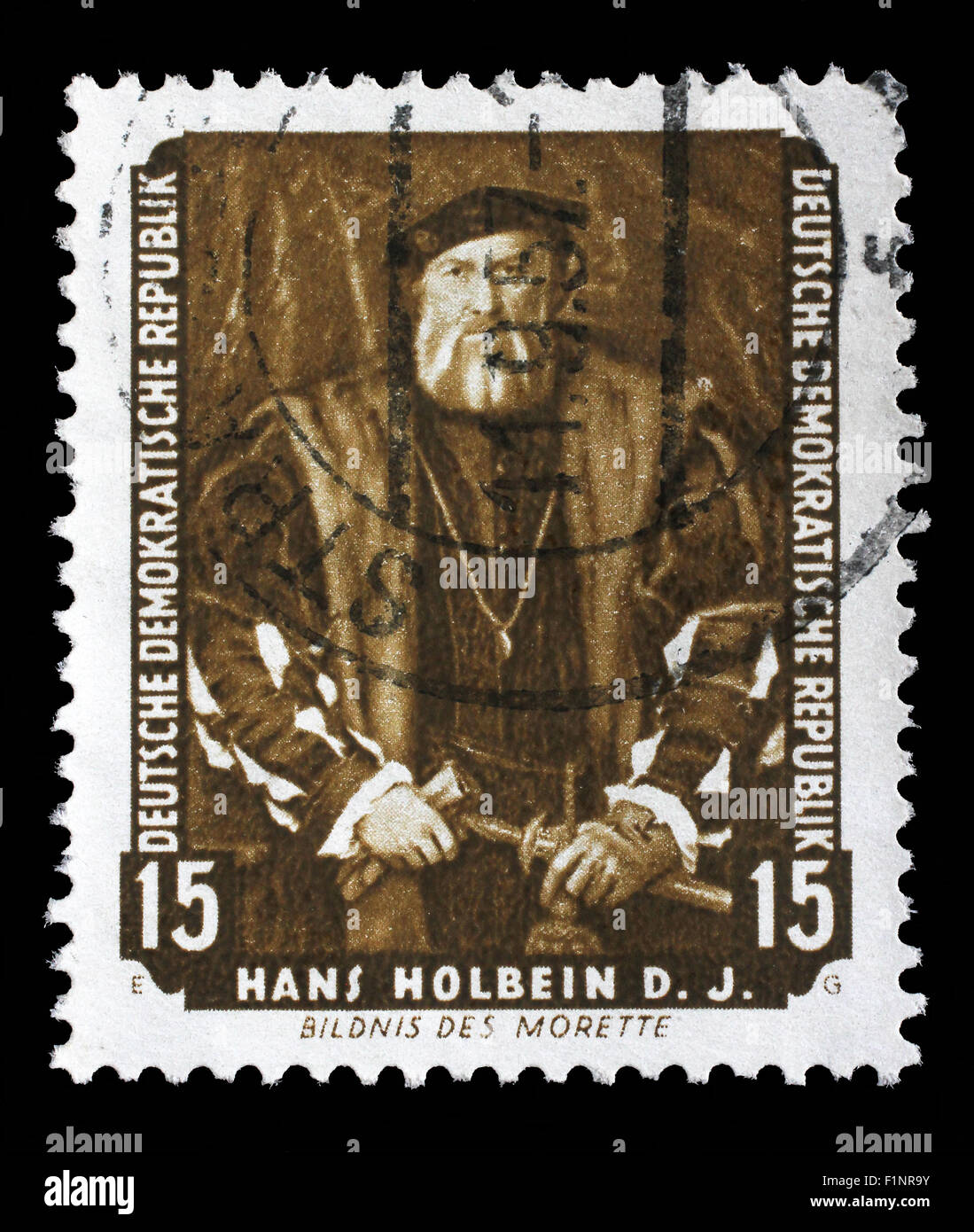 Stamp printed in DDR shows the painting Portrait of Morette, by Hans Holbein, circa 1957. - Stock Image