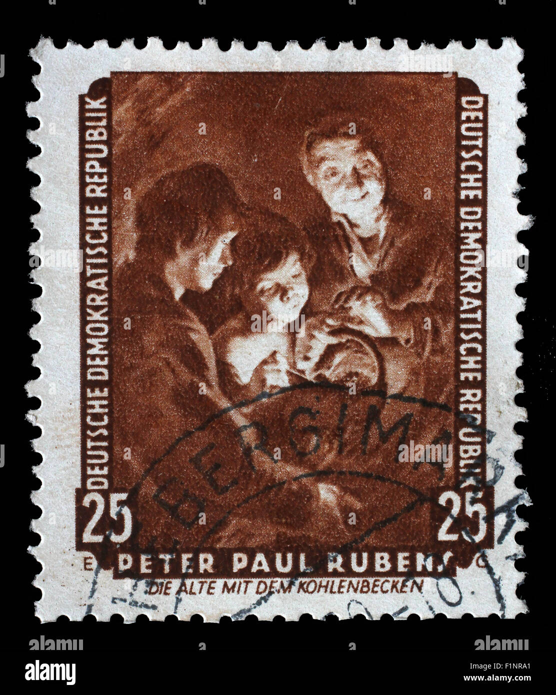 Stamp printed in DDR shows the painting Old woman with a brazier, by Peter Paul Rubens, circa 1957. - Stock Image