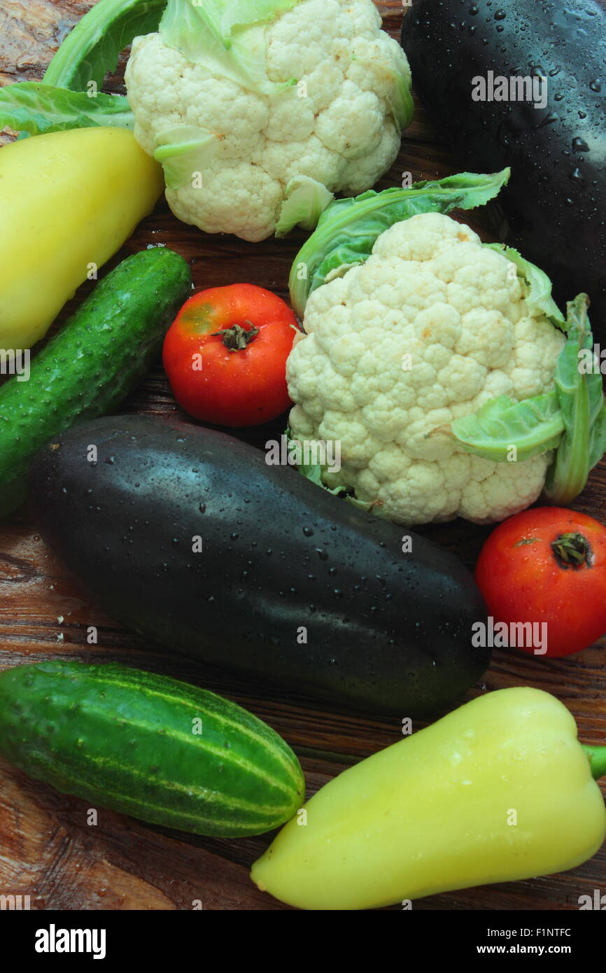 lie cucumber, bell peppers, cauliflower, tomatoes, eggplant - Stock Image