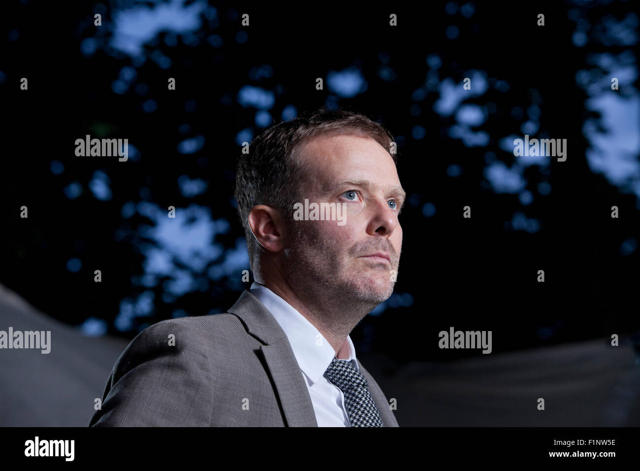 Tom McCarthy, the English novelist, writer, and Man Booker Prize Nominee, at the Edinburgh International Book Festival - Stock Image