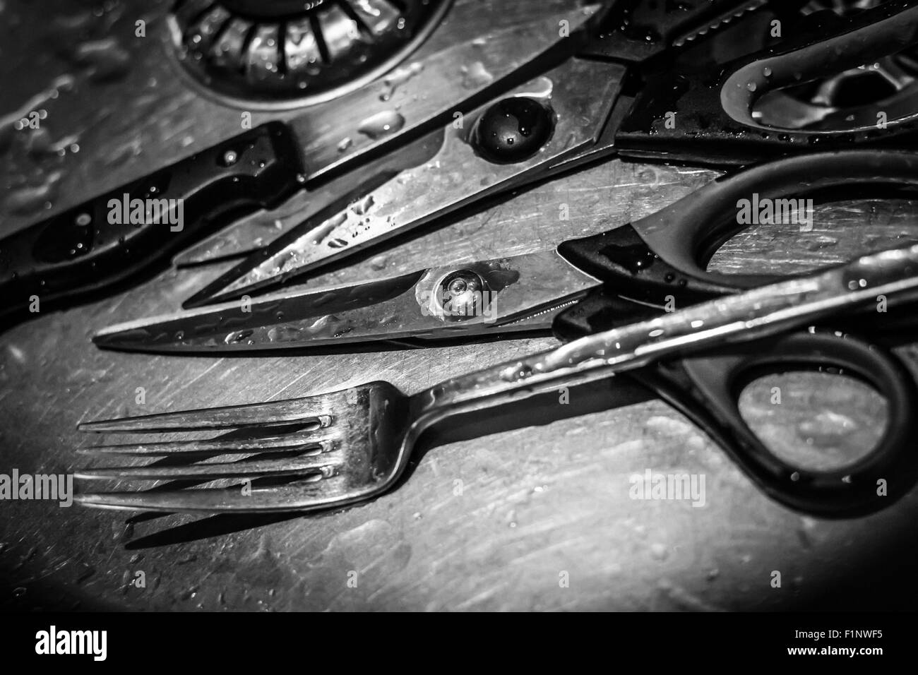 Group of four water splashed kitchen utensils resting in a metallic household sink - Stock Image