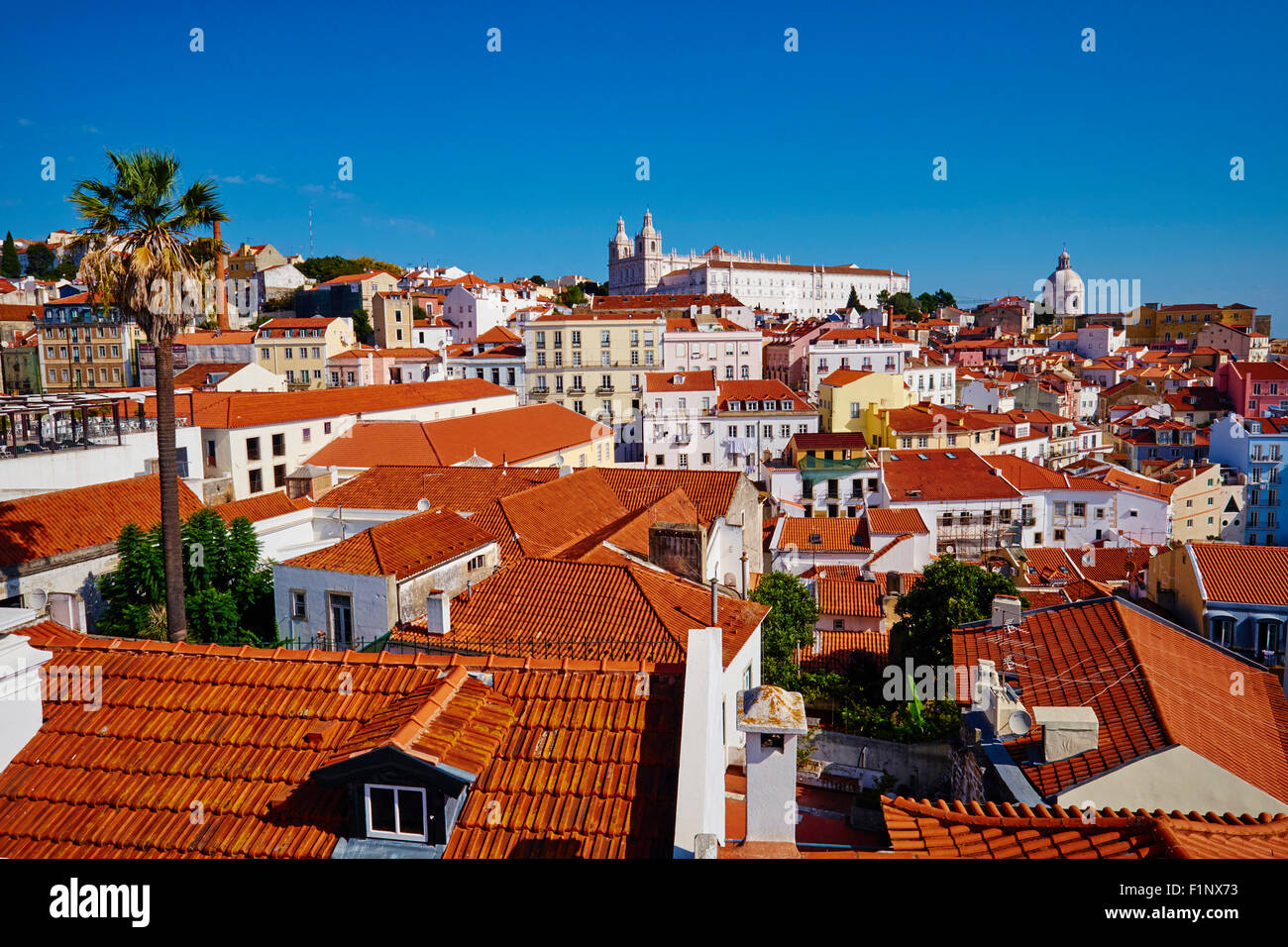 Portugal, Lisbon, Alfama from Santa Luzia belvedere, view on Sao Vicente de Fora monastery and National Pantheon Stock Photo