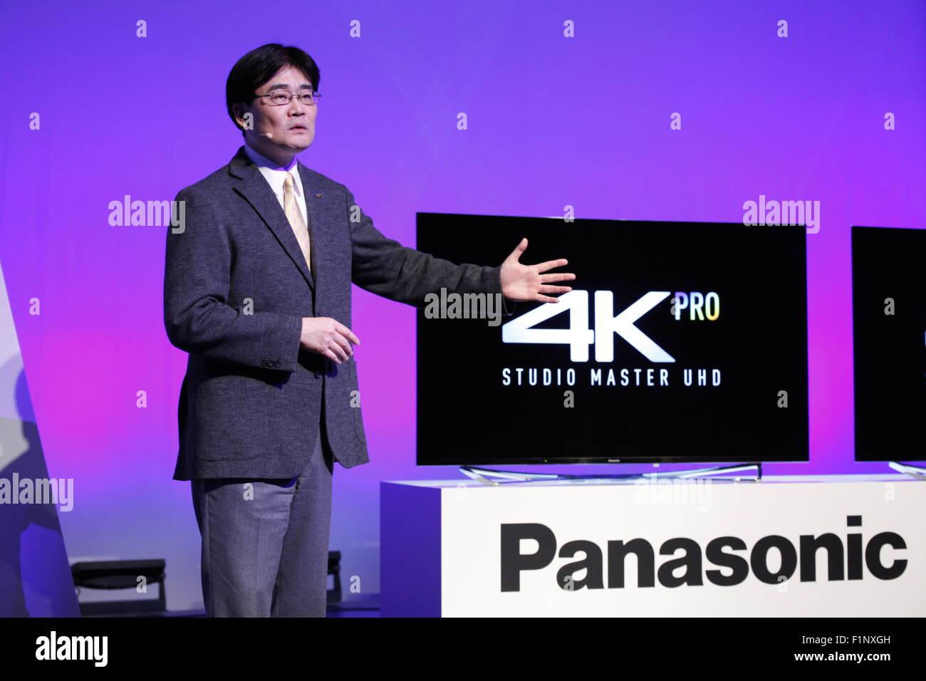Berlin, 2. Sept. 2015, Tetsuro Homma, Managing Director of Panasonic, presents on press conference on IFA (Internationale - Stock Image