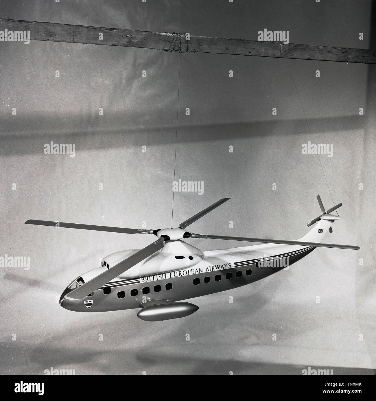 Historical, 1950s, picture showing a model of a British European Airways helicopter. Merged with BOAC in 1974 to - Stock Image
