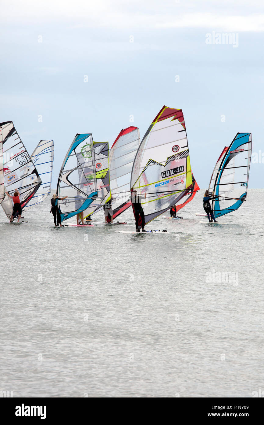 Competitiors at the National Watersports Festival, Hayling Island, Hampshire UK. 5th September, 2015. - Stock Image