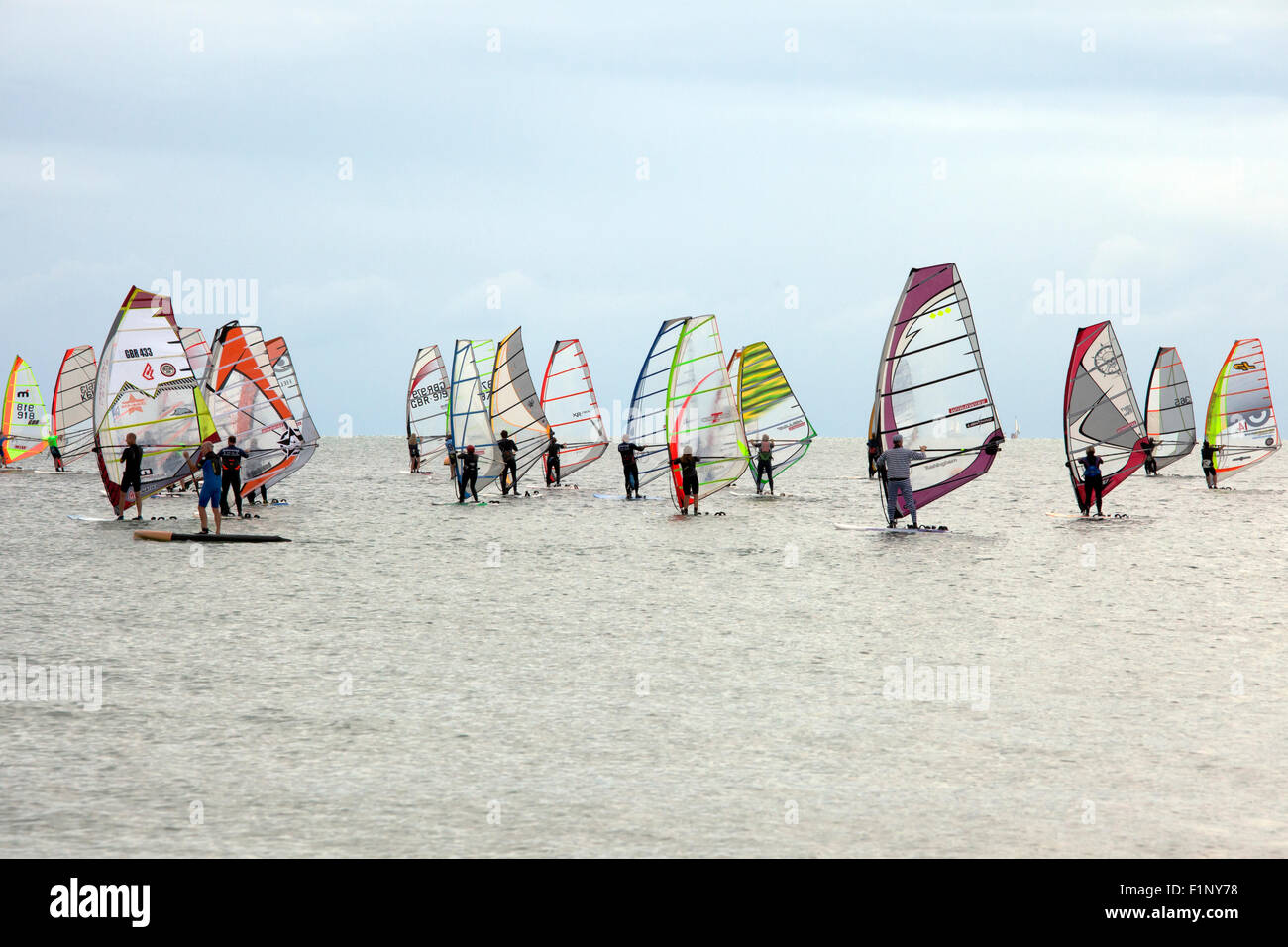 Windsurfers competing at the National Watersports Festival, Hayling Island, Hampshire UK. 5th September, 2015. - Stock Image