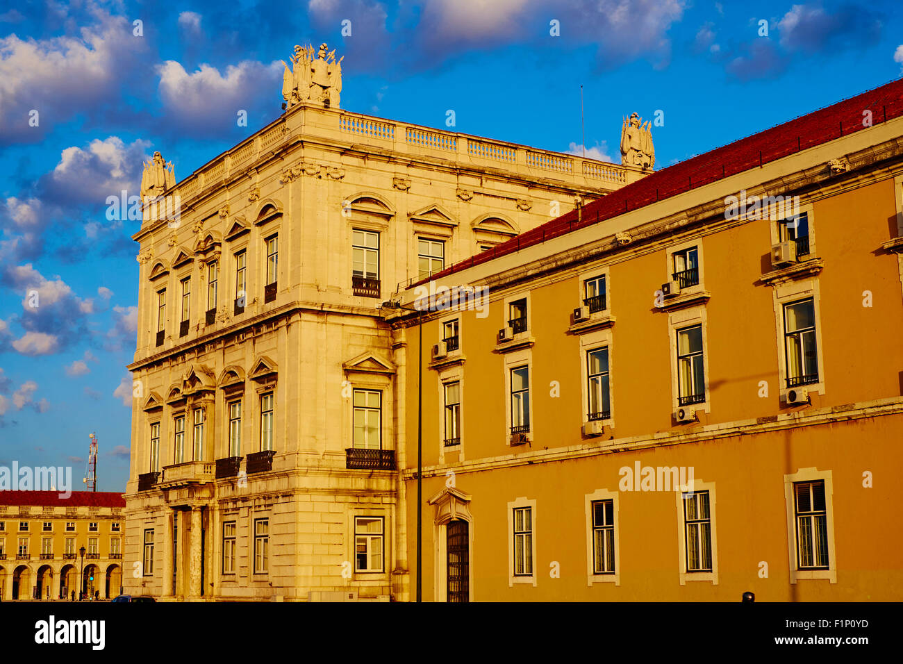 Portugal, Lisbon, Praca do Comercio, or Commerce Square. It is also known as Terreiro do Paco, or Palace Square - Stock Image