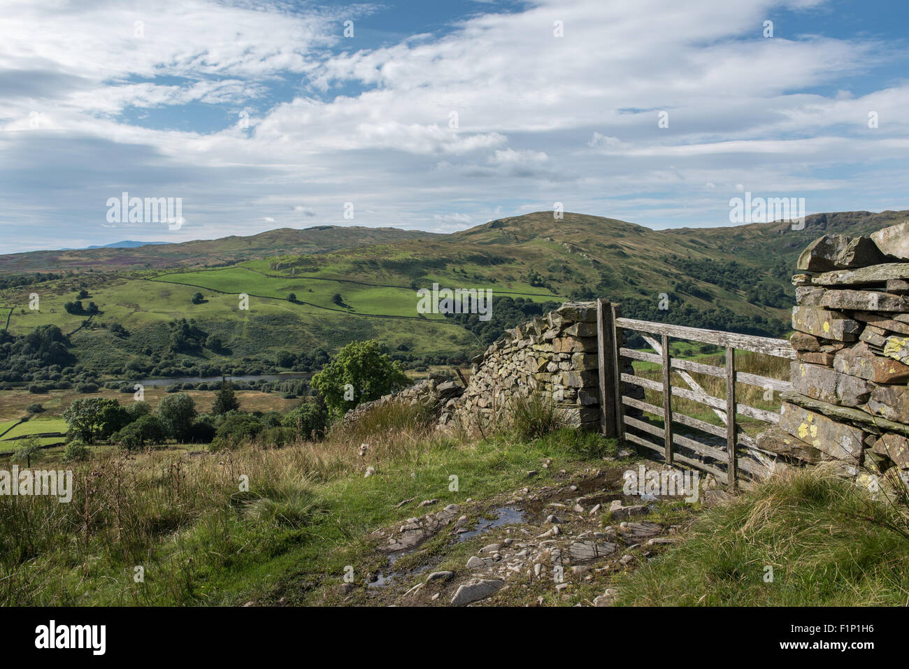 Looking across Kentmere fro Green Quarter Fell - Stock Image