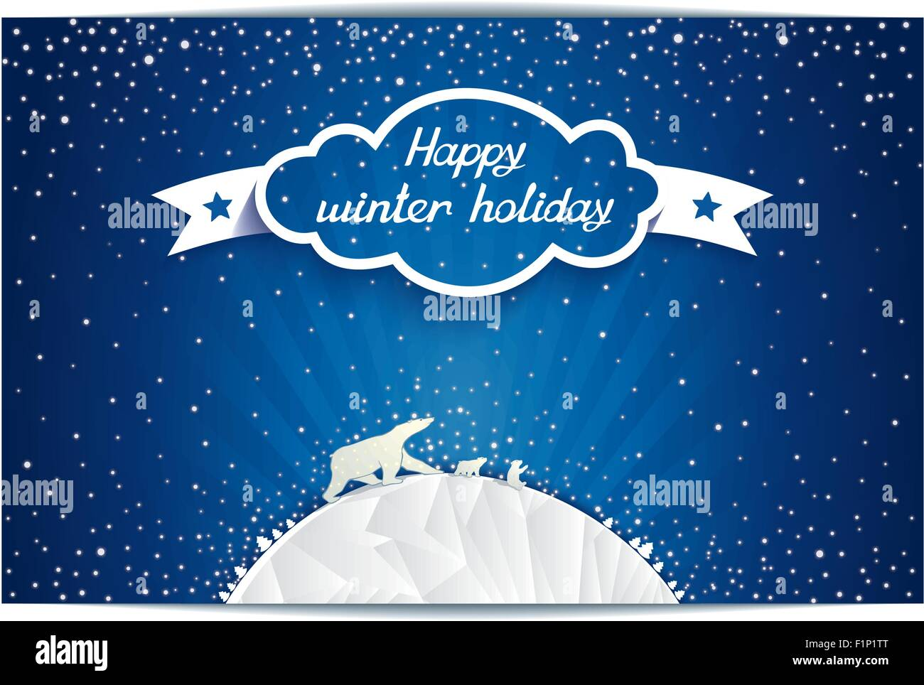 Fabulous vector illustration polar bears family at north pole with 3D cloud and lettering HAPPY WINTER HOLIDAYS Stock Vector