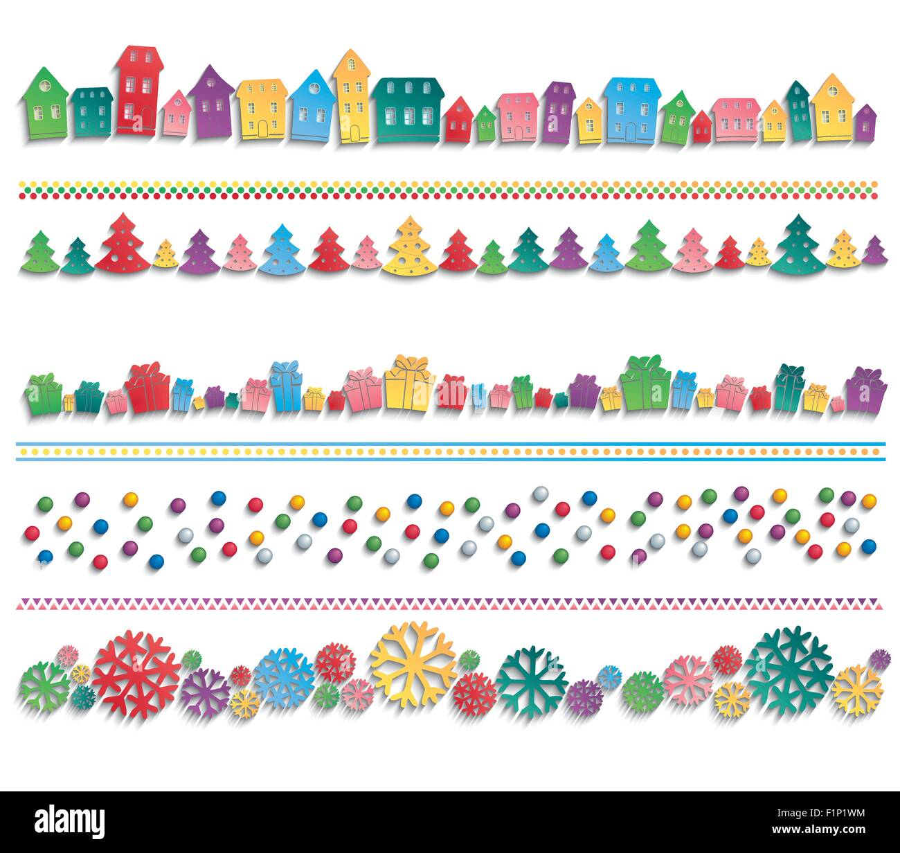 Colorful houses, trees, balls, gifts and snowflakes drawn up in line with the 3D shadow. Festive template for   - Stock Vector