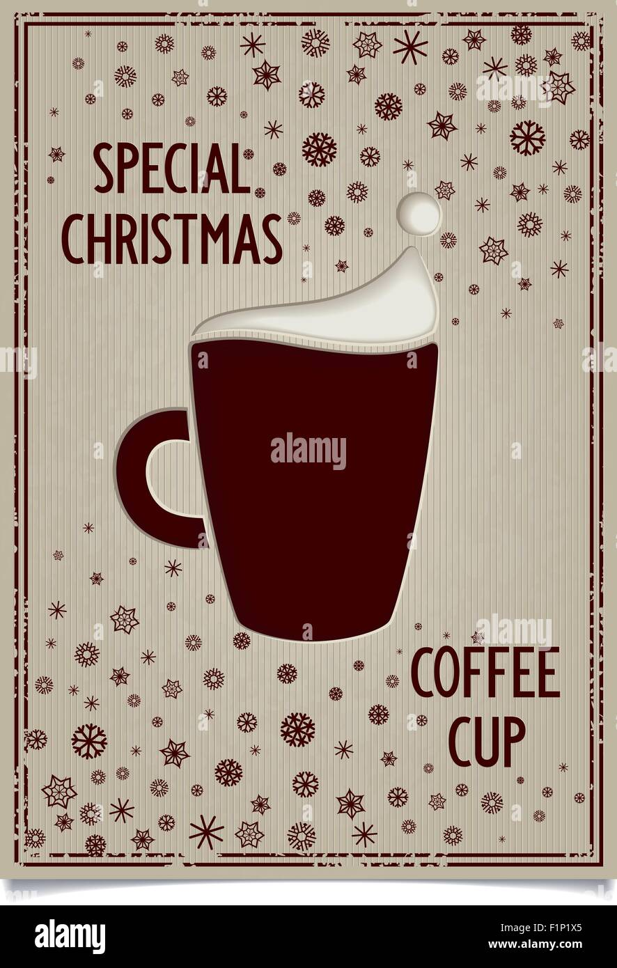 Christmas Restaurant Poster.Christmas Poster Design For Restaurant And Cafe With Fun Cup