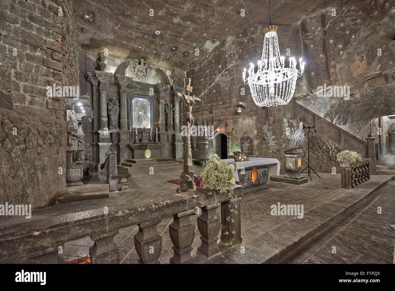 The Chapel of St. Kinga in Wieliczka Salt Mine, Cracow Wieliczka, Poland - Stock Image
