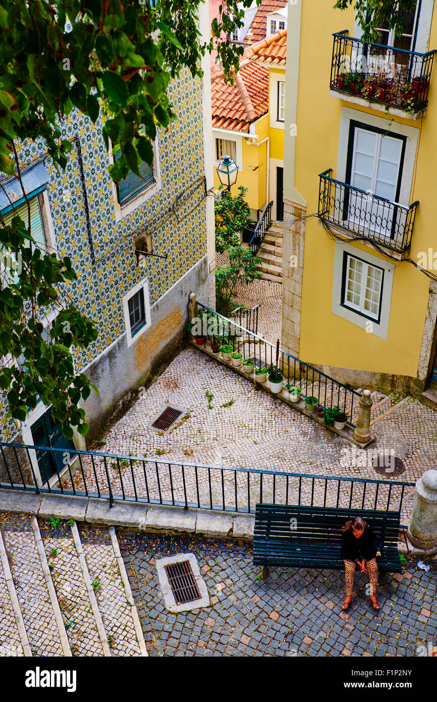 Portugal Lisbon stairs on the Alfama neighbourhood - Stock Image