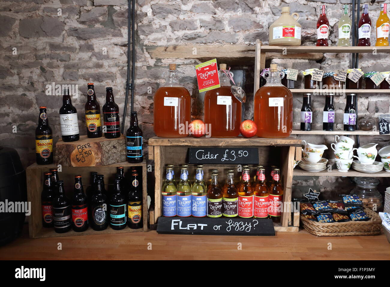 Ty Gwyn cider for sale in the bar at Pen y Lan farm, Pontrilas, England, UK - Stock Image