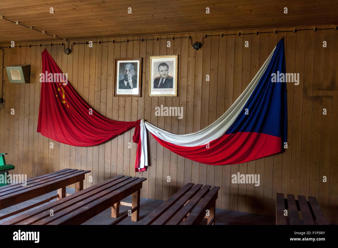 Soviet and Czechoslovak flags, Vojna Memorial, a museum of victims of communism, near Pribram, Czech Republic, Europe - Stock Image