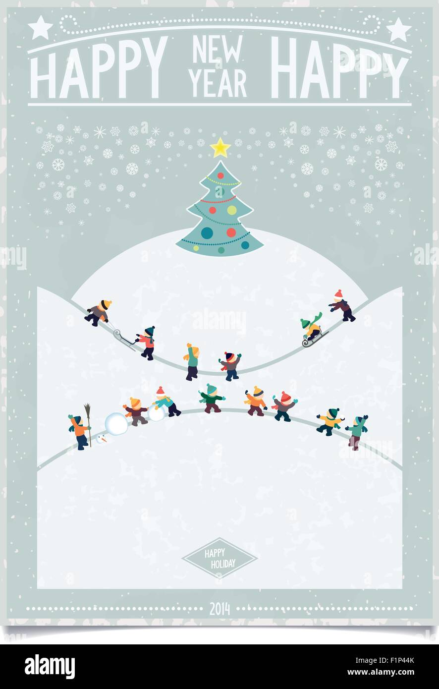 happy new year card winter landscape in retro poster style with playing kids and christmas tree on blue grunge background