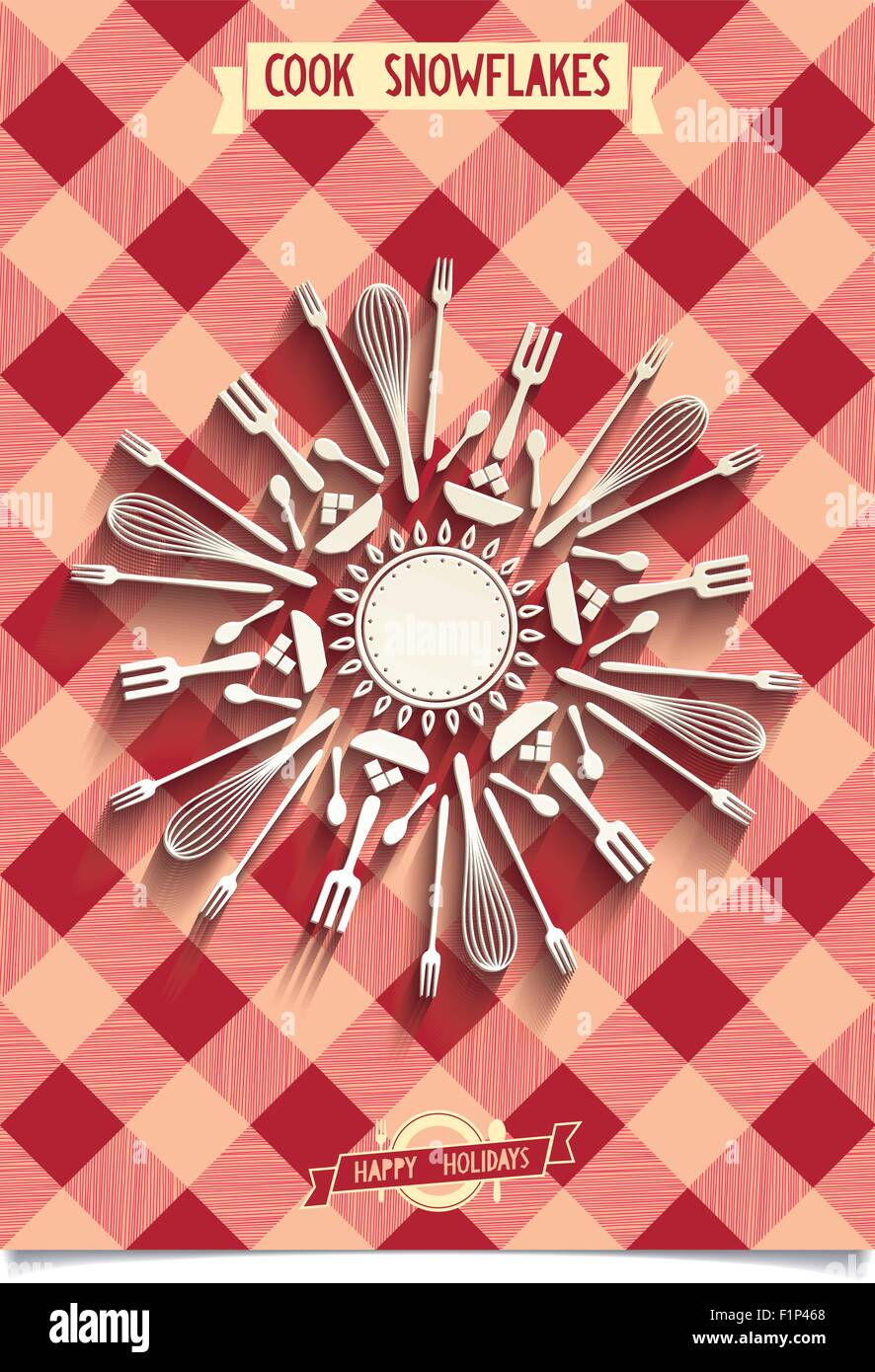 Christmas decorations Snowflakes Make from kitchen utensils and cutlery. Design elements for embellish your  kitchen - Stock Vector