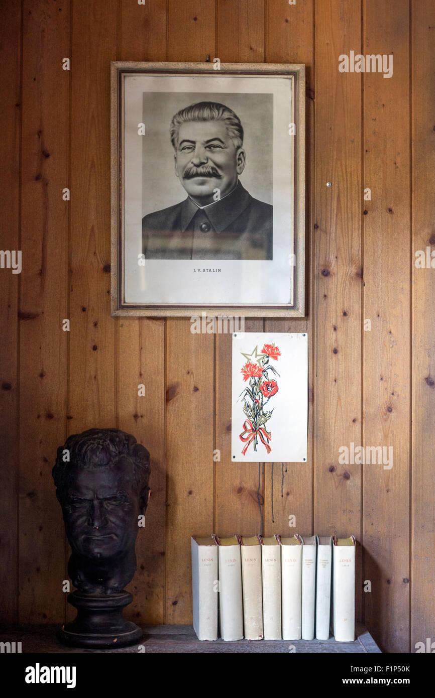 J.V. Stalin and Klement Gottwald, Vojna Memorial, a museum of victims of communism, near Pribram, Czech Republic, - Stock Image