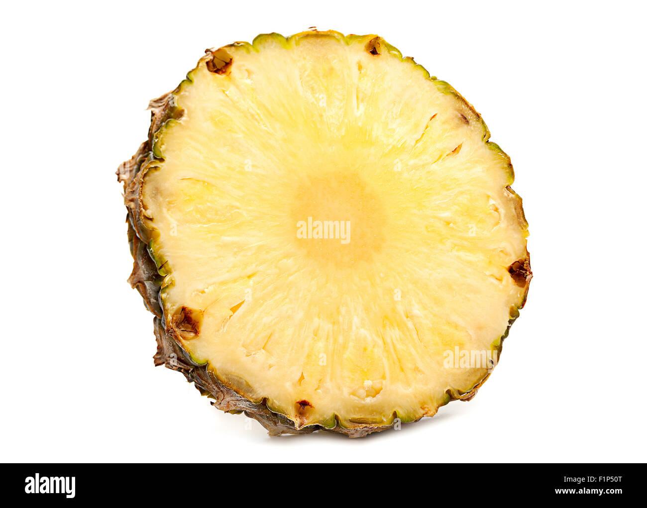 Pineapple fruit closeup isolated on white - Stock Image
