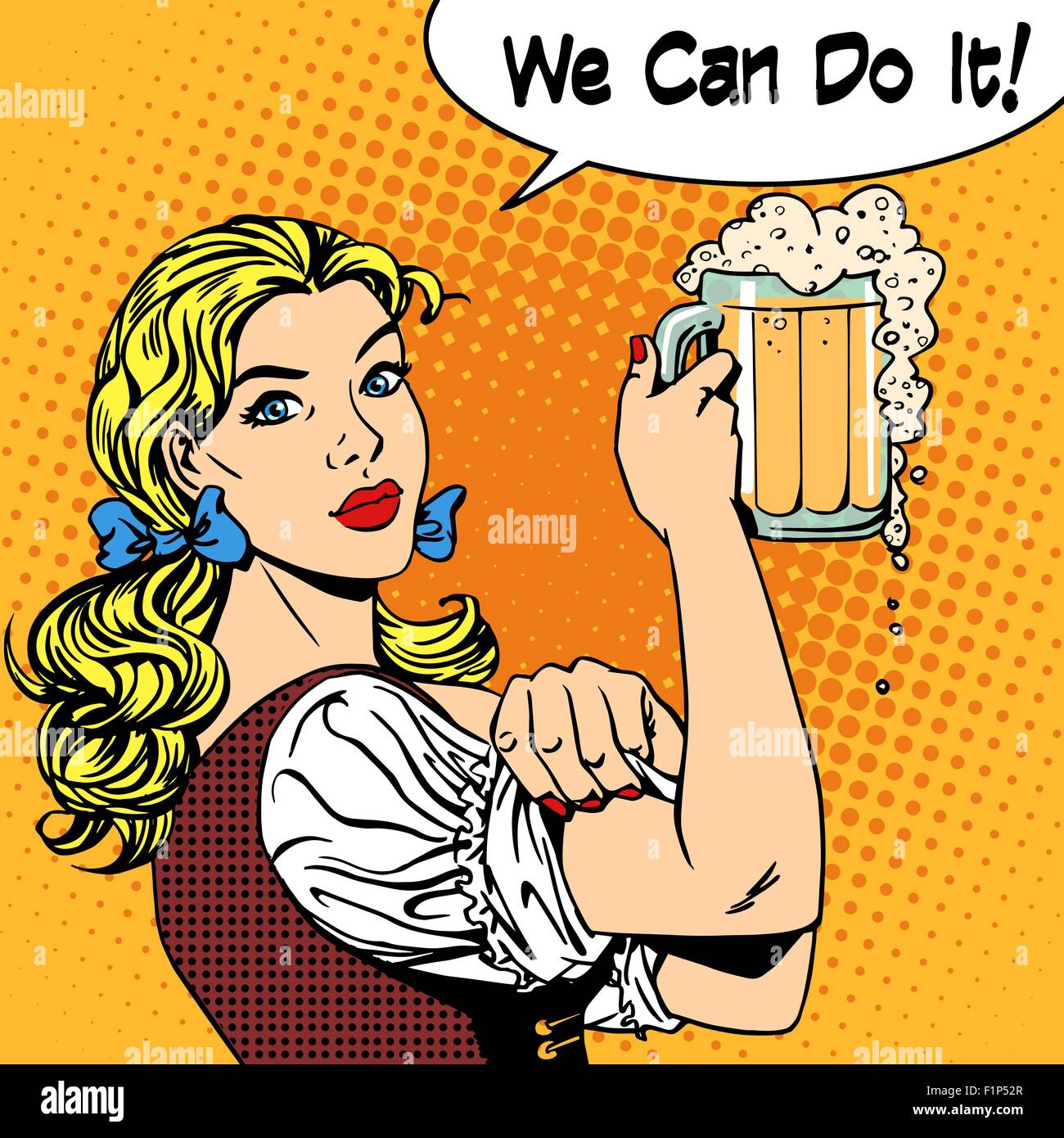 girl waitress with beer says we can do it - Stock Vector