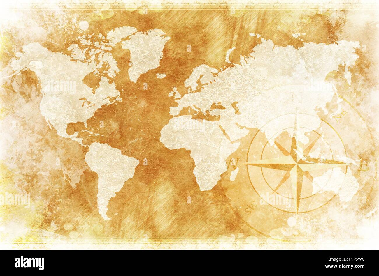 old-fashioned world map design: rustic world map with compass rose