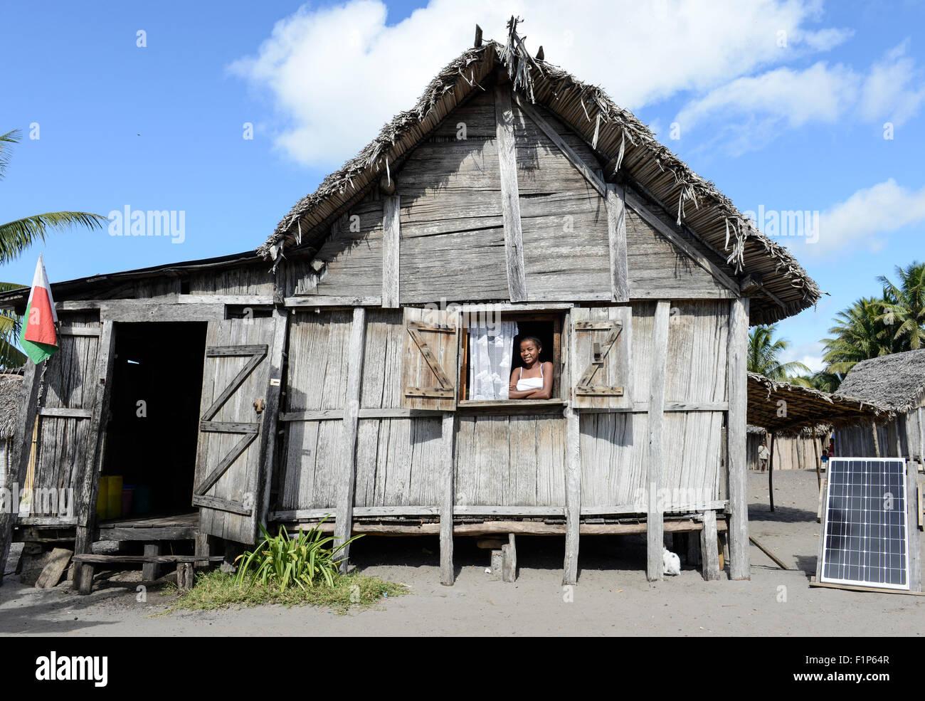 MADAGASCAR, Mananjary region, village AMBOHITSARA, hut with solar home system - Stock Image