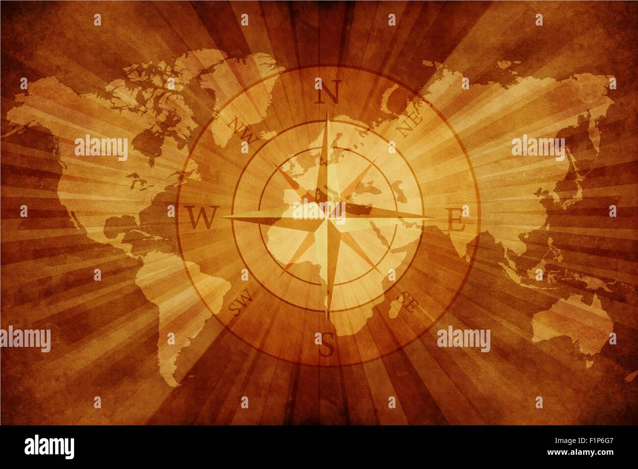 Old World Map with Compass Rose. Grungy Old Paper World Map with ...