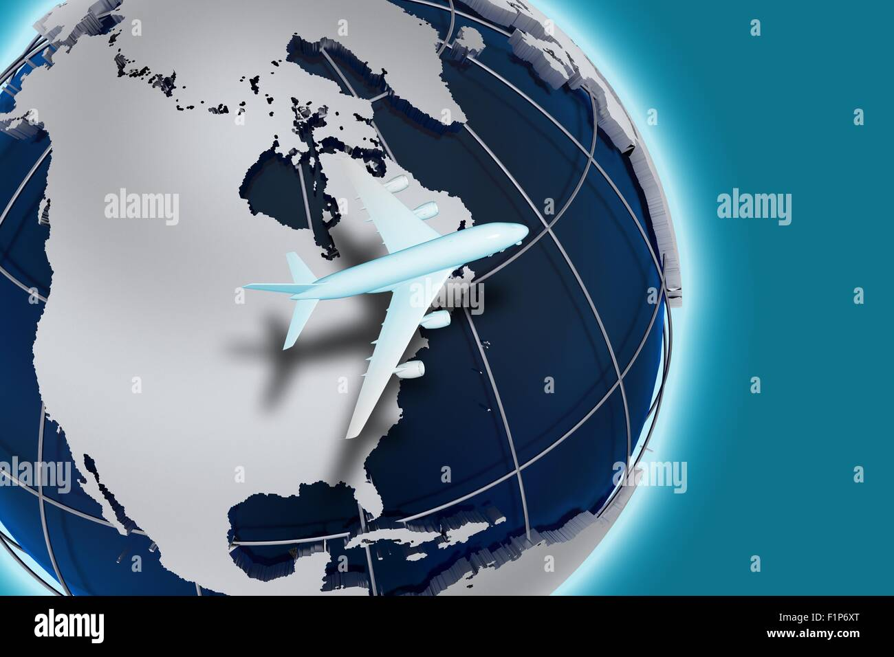 Airlines Air Transport 3D Render Illustration Theme. Worldwide Air Transportation. Globe Illustration and Flying - Stock Image
