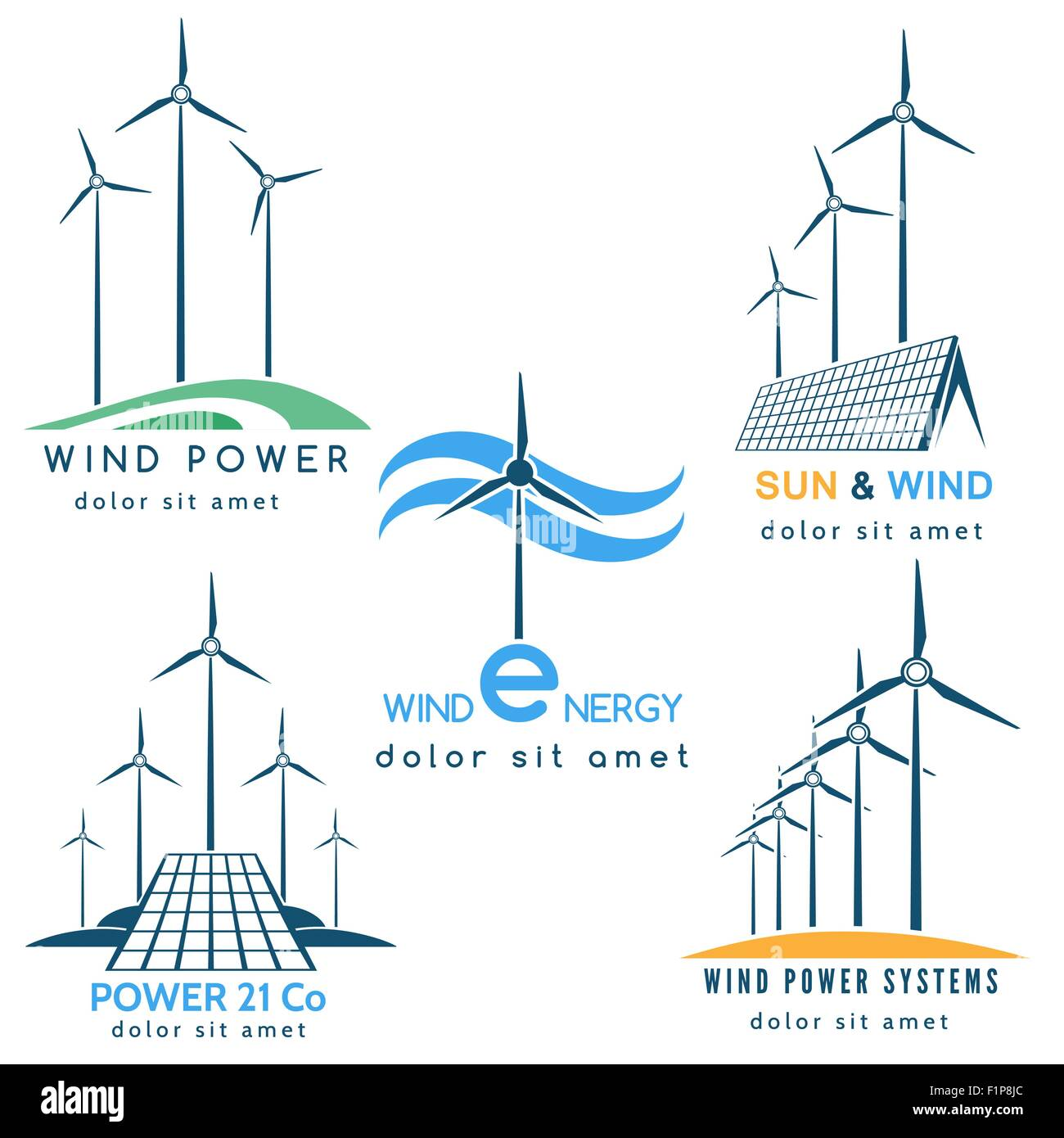 Wind Power Vectors Stock Photos Images Diagram Making Company Logo Or Emblem Set Solar And Energy Generators Turbines