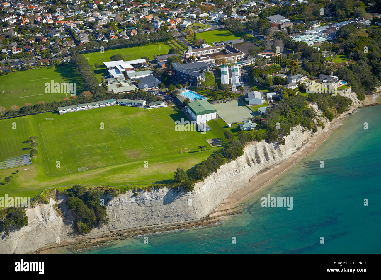 Takapuna Grammar School, Takapuna, Auckland, North Island, New Zealand - aerial - Stock Image