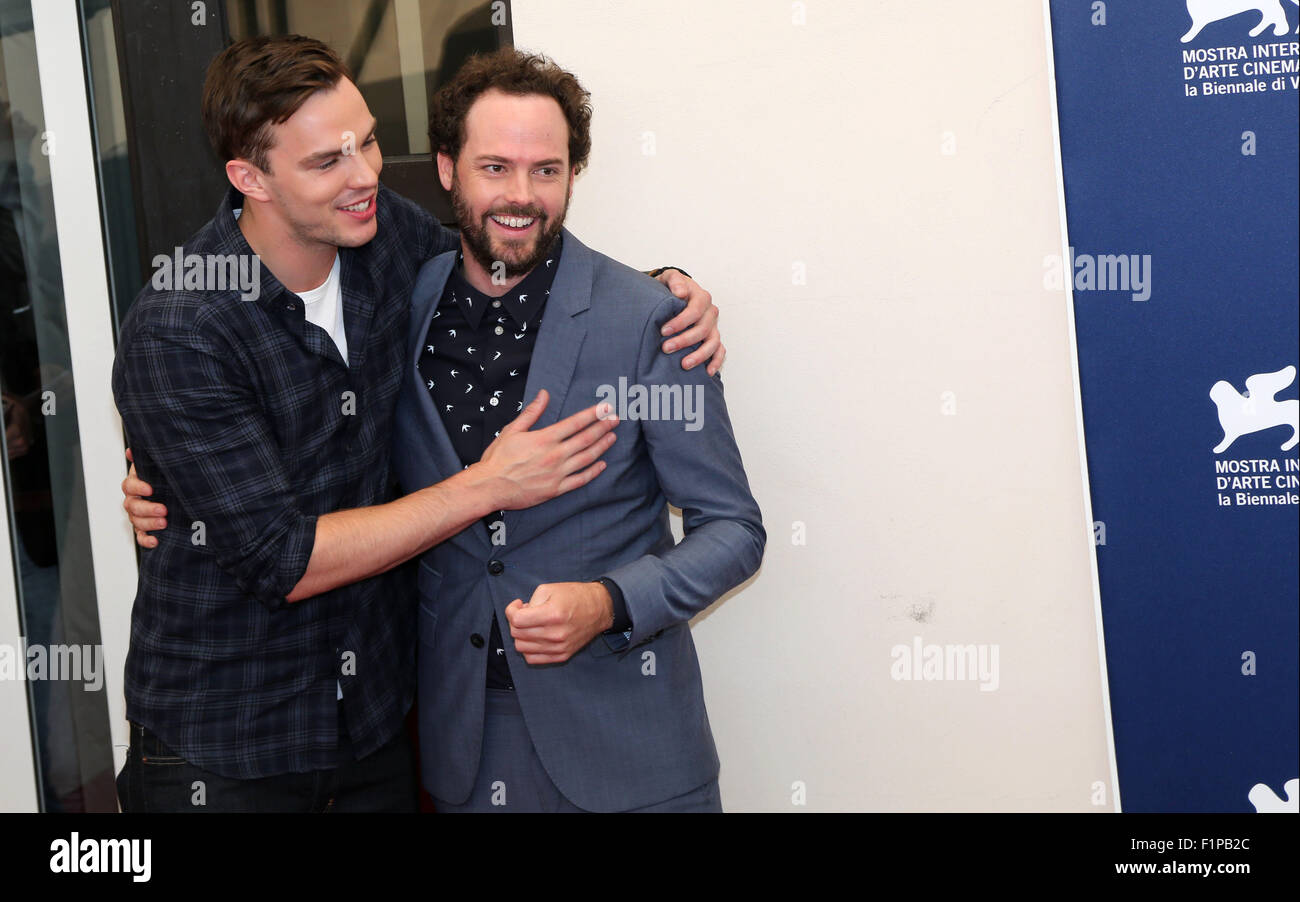 Venice, Italy. 5th September, 2015.  Drake Doremus (R) with Nicholas Hoult poses at a photocall for the movie Equals Stock Photo