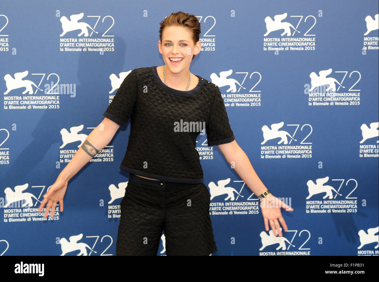 Venice, Italy. 5th September, 2015.  Kristen Steward poses at a photocall for the movie Equals during the 72th annual Stock Photo