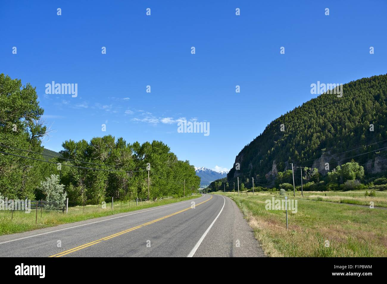 Livingston, Montana, USA Highway 89 to Gardiner and Yellowstone National Park. Summer in Livingston, MT. - Stock Image