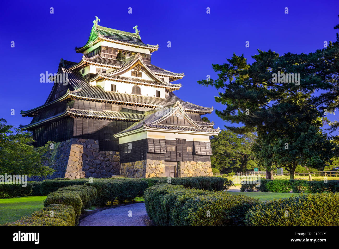 Matsue, Japan at the castle. The castle has one of the few original castle keeps in the country. - Stock Image