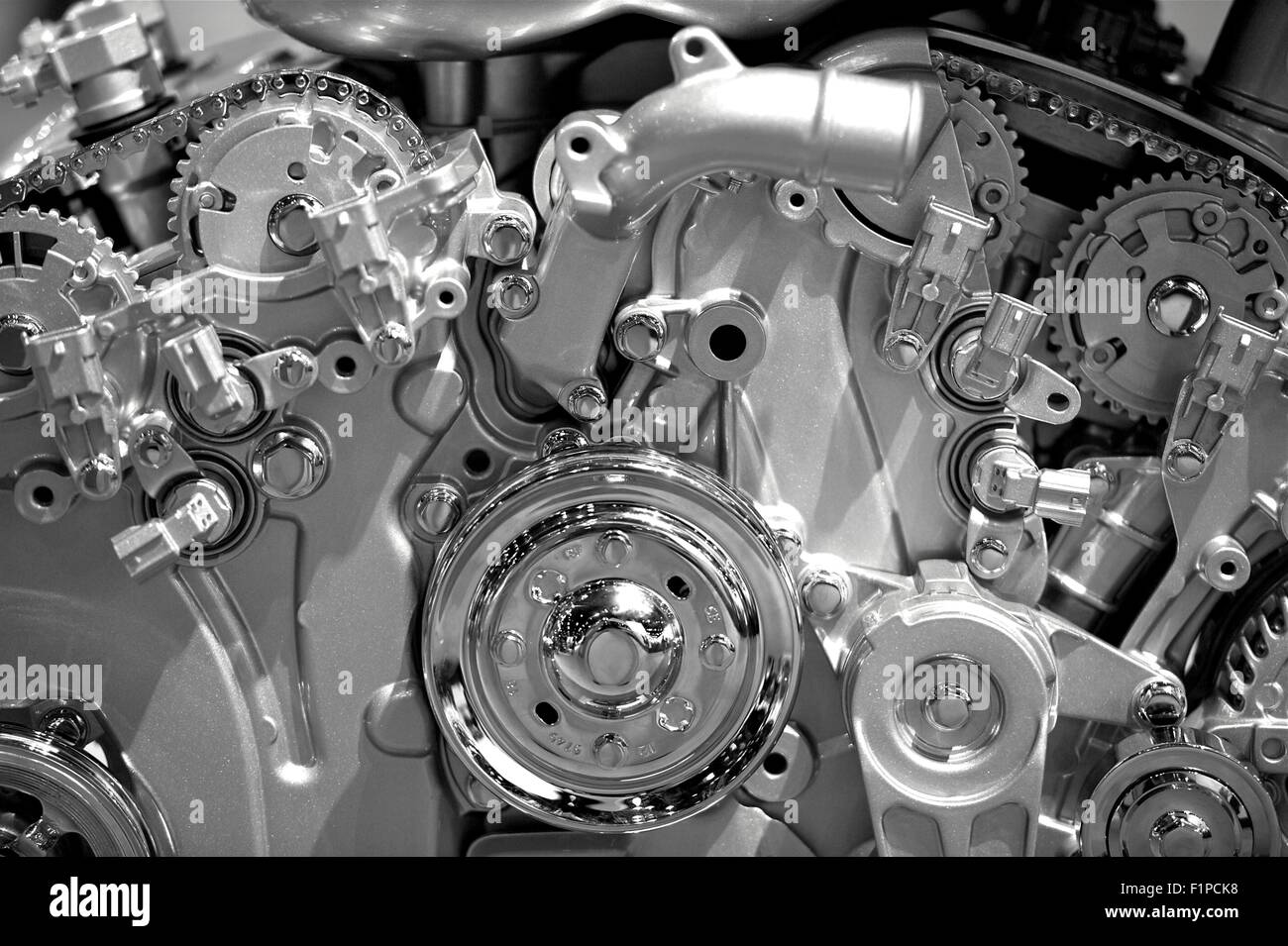 Modern Gasoline Engine Technology Metal Shiny Car Engine Closeup Stock Photo Alamy