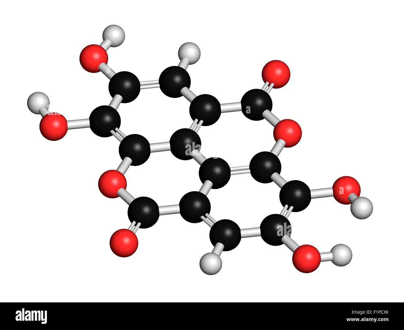 Ellagic acid dietary supplement molecule Atoms are represented as spheres with conventional colour coding: hydrogen - Stock Image
