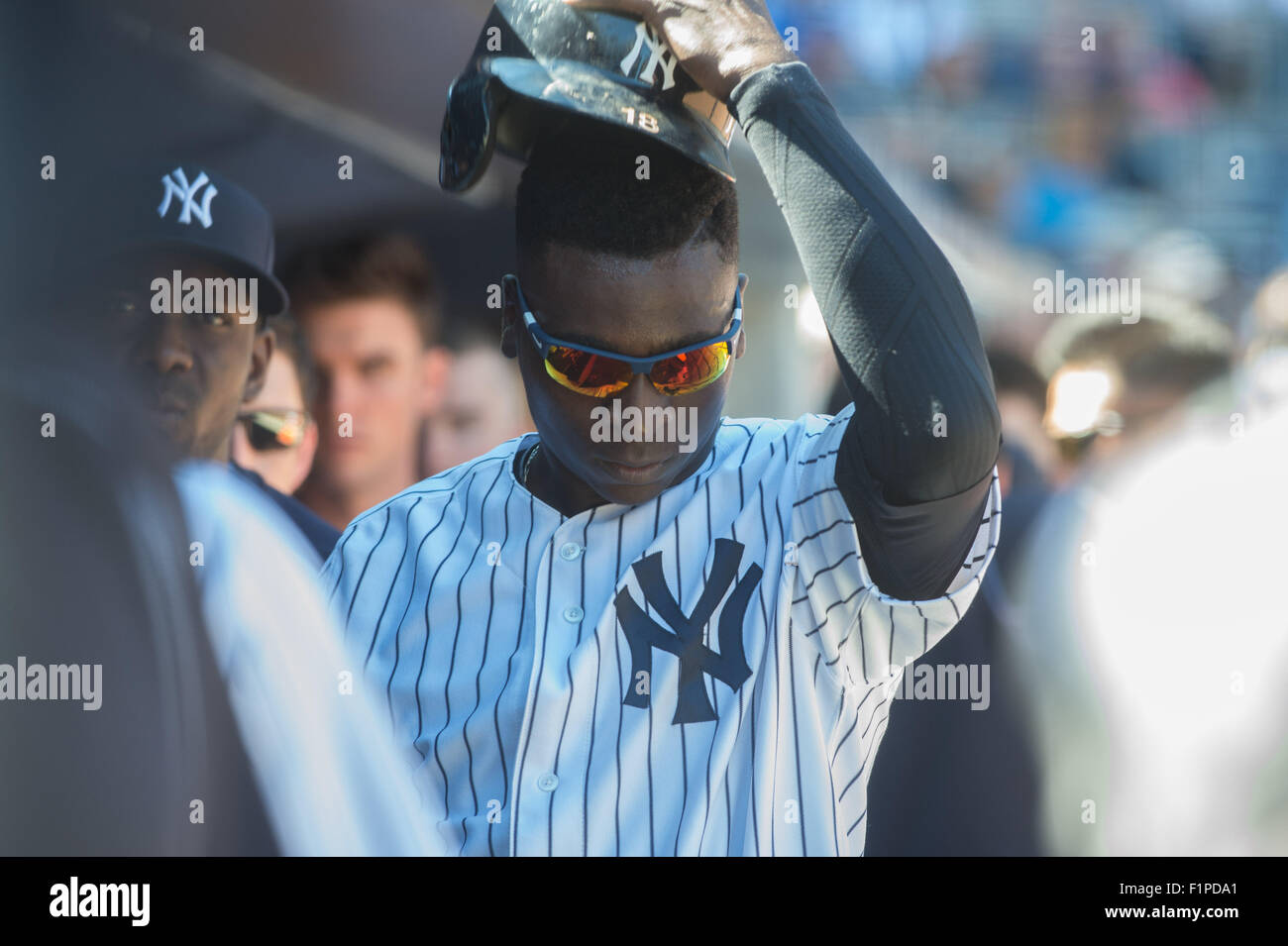New York, New York, USA. 5th Sep, 2015. Yankees' DIDI GREGORIUS in the dugout as he hits a one-run double in - Stock Image
