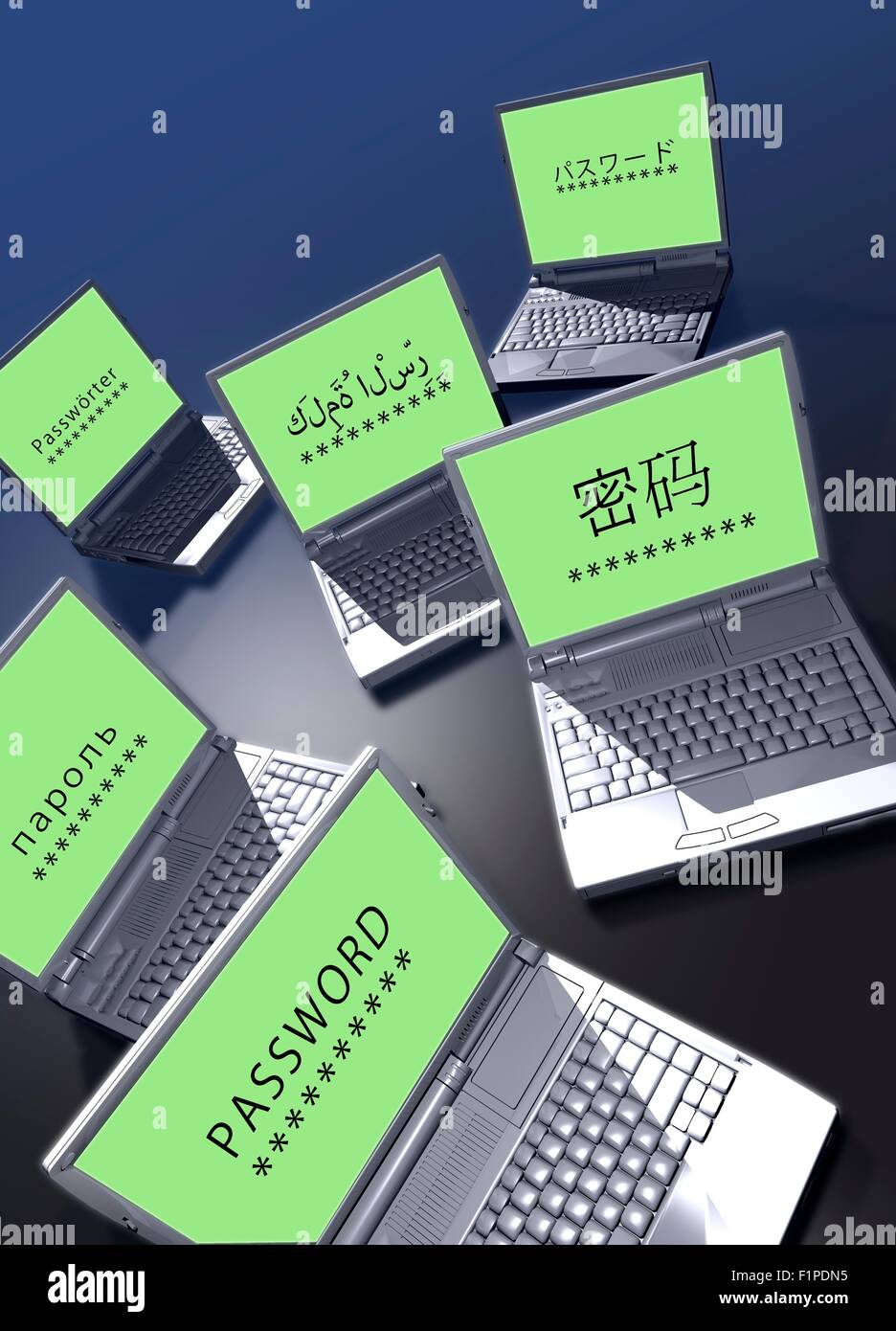 Passwords in different languages on laptop screens. - Stock Image