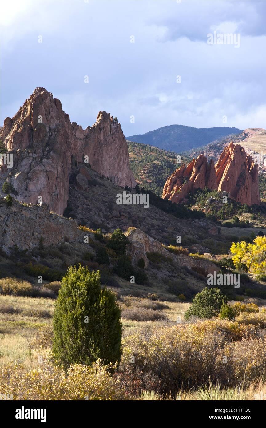 Colorado Rocks Formation - Colorado Springs Garden of the Gods in Fall. Vertical Photography. Colorado Photo Collection - Stock Image