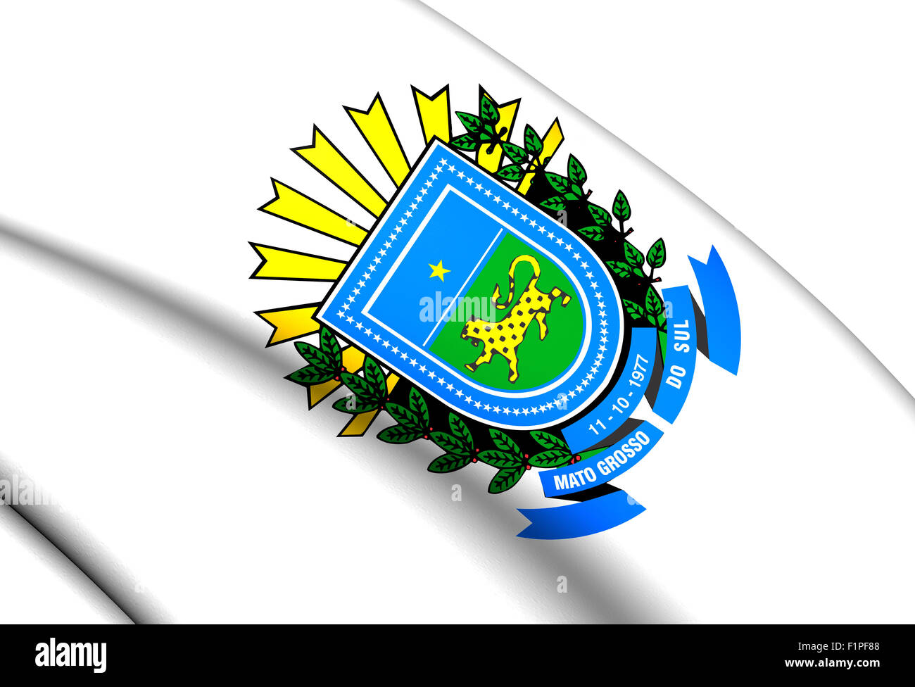 Mato Grosso do Sul Coat of Arms, Brazil. Close Up. Stock Photo