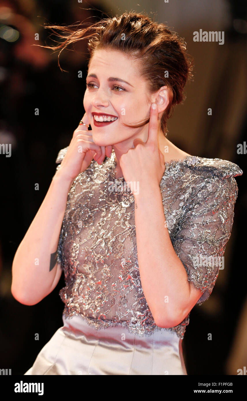 """Venice, Italy. 5th Sep, 2015. Actress Kristen Stewart attends the premiere of the film """"Equals"""" during the 72nd Stock Photo"""
