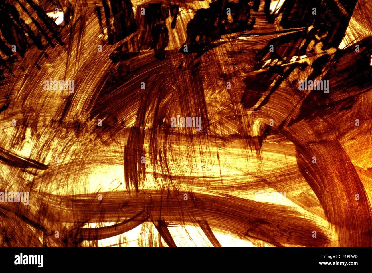 Fire Smudges. Grunge Burning Background. Paint Brushes - Stock Image