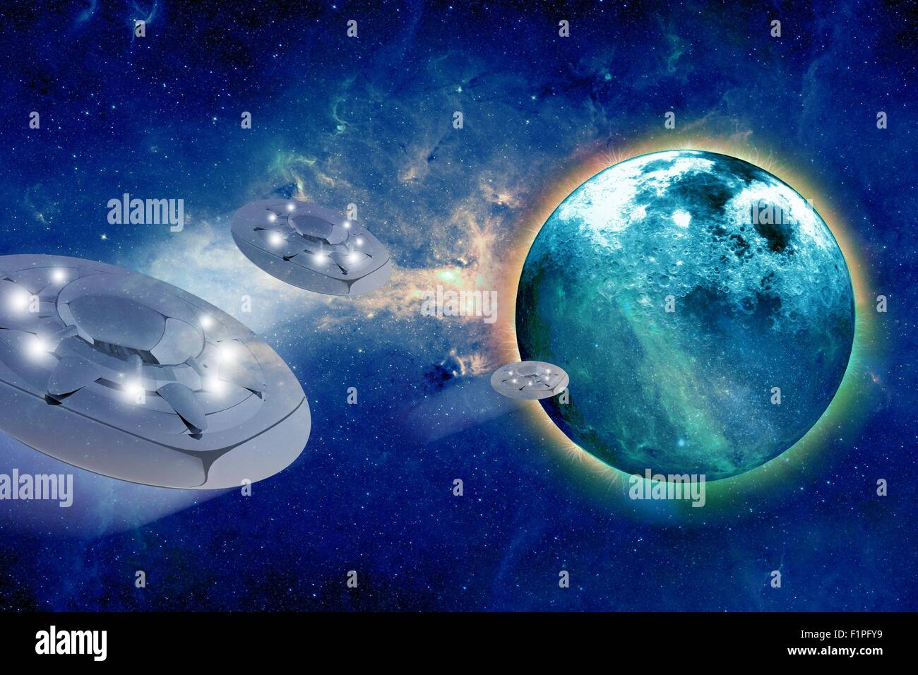 Aliens Spacecrafts and Aliens Home Planet - Abstract Illustrations. - Stock Image